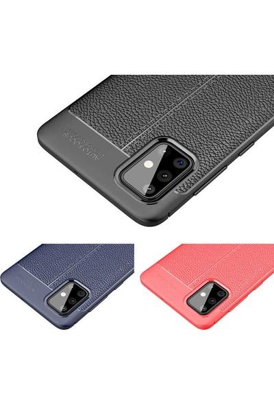 Fuji̇max Samsung Galaxy M31 Niss Deri Görünümlü Darbe Emici Özellikli Silikon Kılıf-Siyah