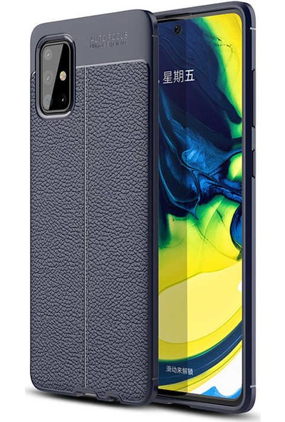 Fuji̇max Samsung Galaxy M31 Niss Deri Görünümlü Darbe Emici Özellikli Silikon Kılıf-Lacivert