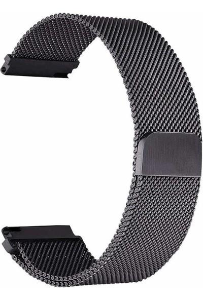 Case Street Samsung Galaxy Active 2 44mm Kordon Hasır Metal Kordon Siyah