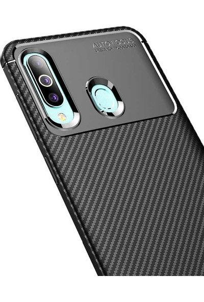 Case Street Samsung Galaxy M40 Kılıf Negro Karbon Silikon + Nano Glass Siyah