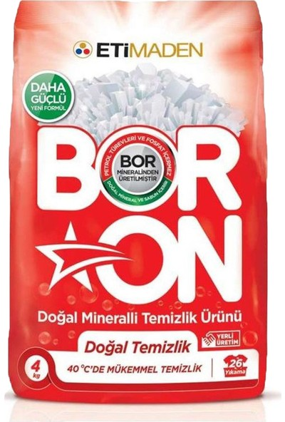 Boron Toz Deterjan Renkliler 4 kg + Boron Toz Deterjan Beyazlar 4 kg