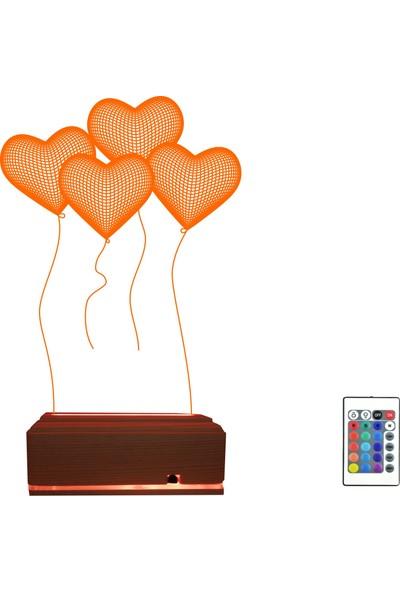 Algelsin Gece Lambası 3D 3 Boyutlu Balondan Kalpler Tasarımlı 16 Renkli Masa Lambası