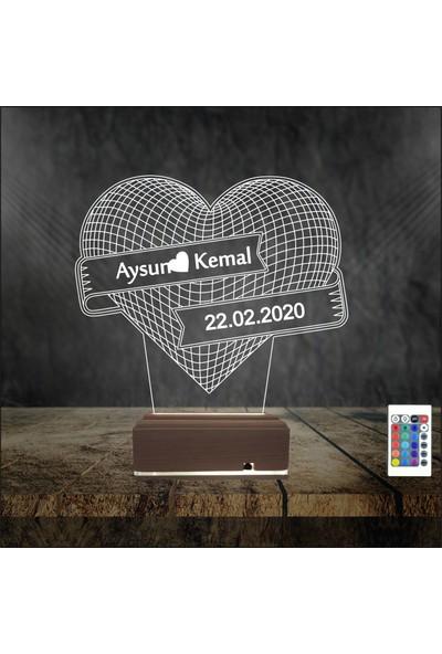 Algelsin Gece Lambası 3D 3 Boyutlu Büyük Kalpli Masa Lambası