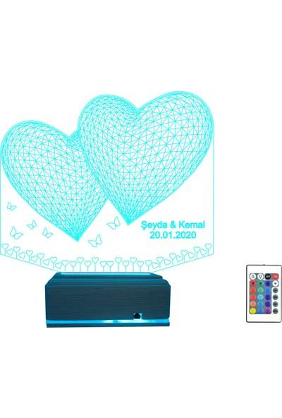 Algelsin LED 3D 3 Boyutlu Özel 16 Renkli Gece Lambası Kelebek Kalp Tasasrımlı Masa Lambası