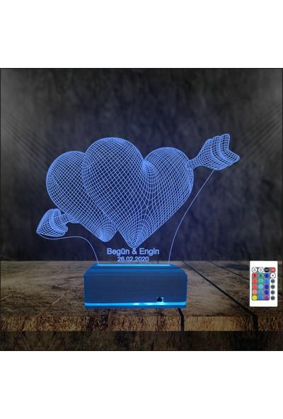 Algelsin Gece Lambası 3D 3 Boyutlu Vurulan Kalpler Modelli Masa Lambası