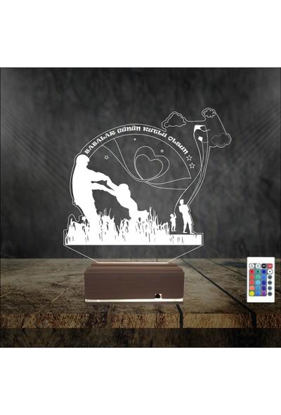 Algelsin Gece Lambası 3D 3 Boyutlu Babalar Gününe Özel Tasarımlı Masa Lambası