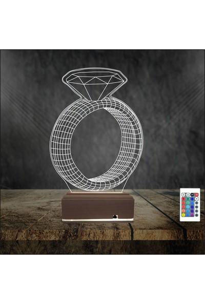 Algelsin Gece Lambası 3D 3 Boyutlu Tek Taş Yüzük Tasarımlı Masa Lambası