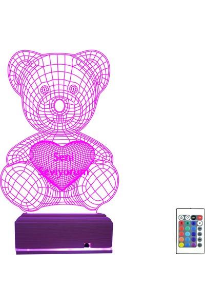 Algelsin Gece Lambası 3D 3 Boyutlu Aşk Temalı Sevimli Ayıcıklı Masa Lambası