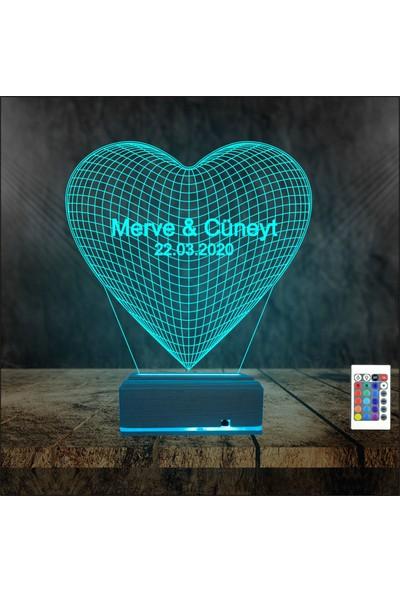 Algelsin Kişiye Özel Isimli 3D Gece Lambası Tek Kalp Masa Lambası