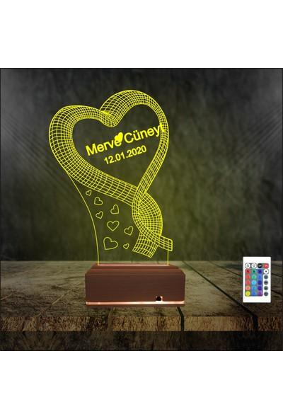 Algelsin Gece Lambası 3D 3 Boyutlu Sevgiliye Kalpli Masa Lambası