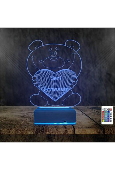 Algelsin Gece Lambası Aşk Temalı 3D 3 Boyutlu Seni Seviyorum Tasarımlı 16 Renkli Hediye Masa Lambası