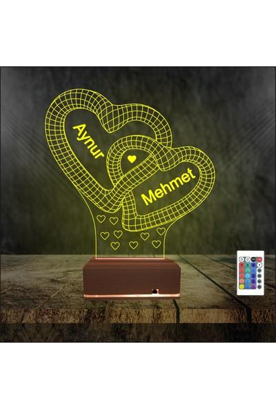 Algelsin Gece Lambası 3D LED Aşk Temalı Kilitli Kalp Tasarımlı 16 Renkli Özel Dekoratif Masa Lambası
