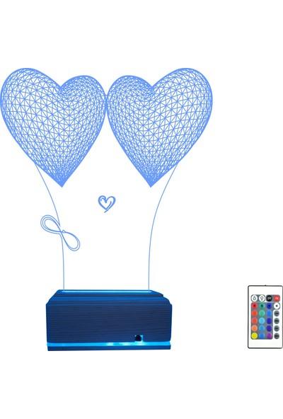 Algelsin Gece Lambası 3D 3 Boyutlu Sonsuzluk Işaretli Kalp Tasarımlı Gece Lambası