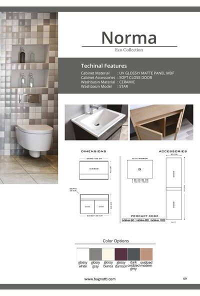 Bagnotti Norma 100 cm Glossmax Parlak Antrasit Banyo Dolabı