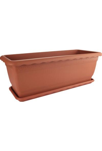 Emek Dekoratif 3'lü 56 lt Tabaklı Bahçe Saksı No: 2 Kahverengi