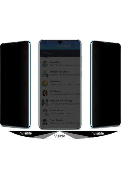 Tbkcase Oppo A9 2020 Tam Kapatan Privacy Hayalet Cam Ekran Koruyucu Siyah