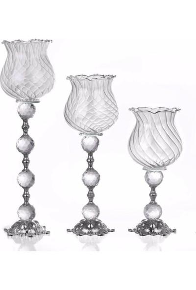 Çakır Home Gümüş 3'lü Mumluk Şamdan