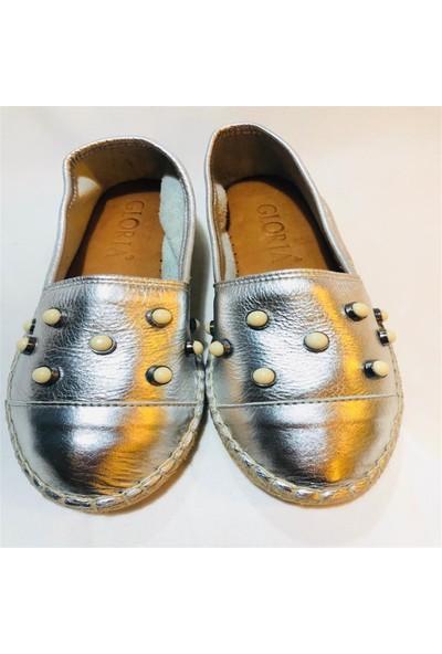 Gloria Gümüş İnci Deri Ayakkabı