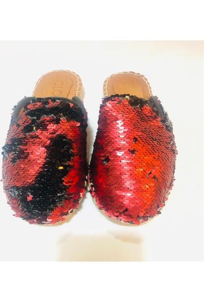 Gloria Siyah Kırmızı Payetli Deri Terlik