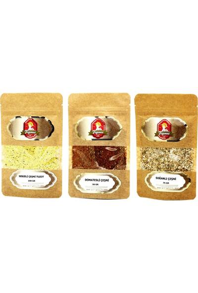 Figenes Domatesli Çeşni, Sebzeli Çeşni, Soğanlı Çeşni - Lezzet Arttırıcılar-3 Lü Set