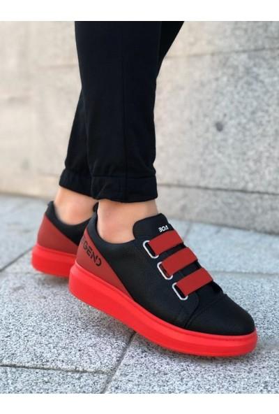 BOA-BA0029 3 Bant Legend Siyah Kırmızı Yüksek Taban Casual Ayakkabı