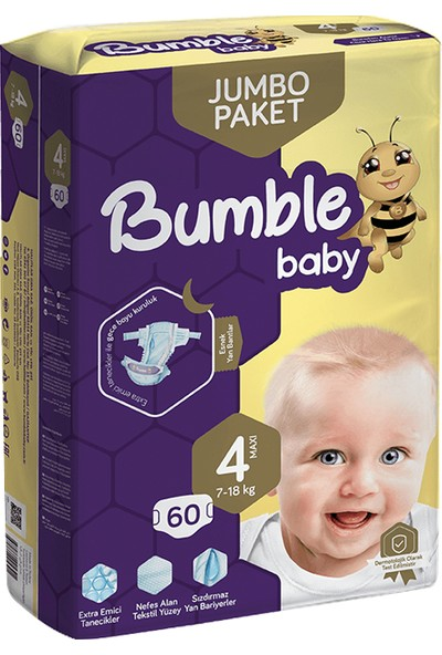 Bumble Jumbo Bebek Bezi 4 Numara 4'lü Paket 240'LI