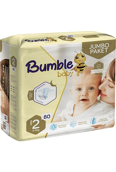 Bumble Jumbo Bebek Bezi 2 Numara 4'lü Paket 320'LI