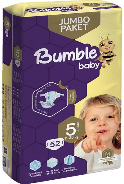 Bumble Jumbo Bebek Bezi 5 Numara 4'lü Paket 208'LI