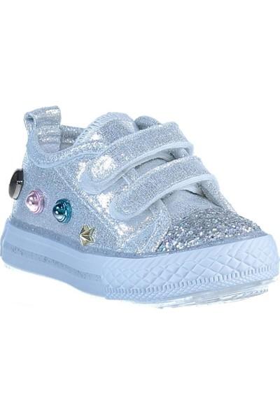 Minican Sneaker Işıklı Kız Çocuk Spor Ayakkabı Gümüş Simli Taban