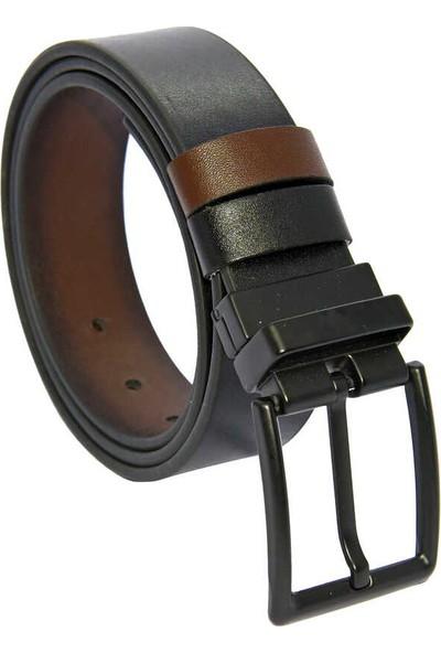 Süzer Kahverengi / Siyah Çift Taraflı Suni Deri 4 cm Spor Kemer - 7110-29