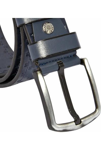 Süzer Lacivert Suni Deri Desenli Model 4.5 cm Spor Kemer - 4547-14