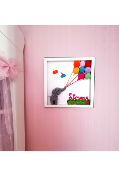 Binbir Baby Baloncu Fil Kişiye Özel Tasarım Bebek Odası Kapı Süsü Pano İsimli - Pembe