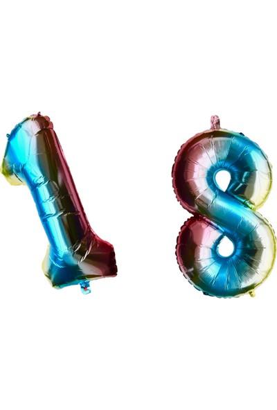 Ohlala Party Unicorn Renkli 18 Yaş İçin 1 ve 8 Rakam Balon
