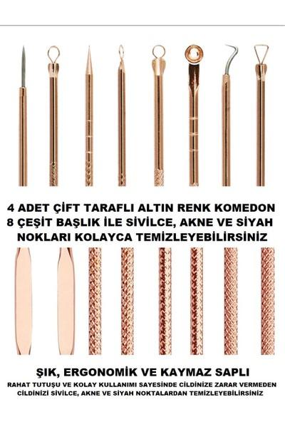Aydın Komedon, Siyah Nokta Temizleyici, Akne Temizleyici, Sivilce Iğnesi, 4 Adet, Hijyenik Kutulu