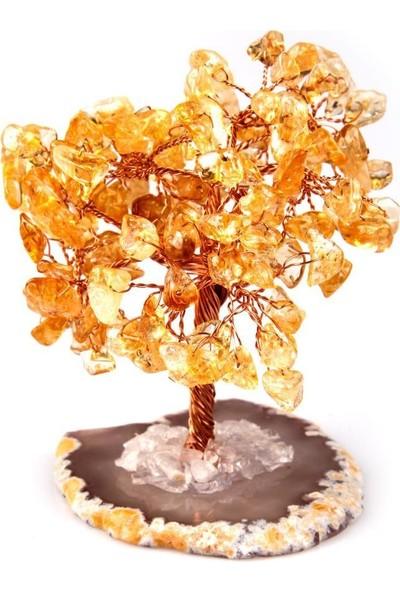 Alibaba Doğaltaş Akik Sitrin Doğal Taş Tel Sarmalı Tasarım Ağaç