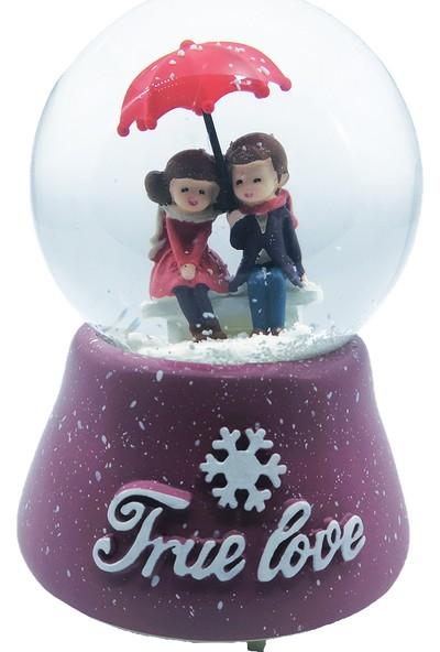 Mankan True Love Şemsiye Altında Ölümsüz Aşk Işıklı Müzikli Kar Küresi