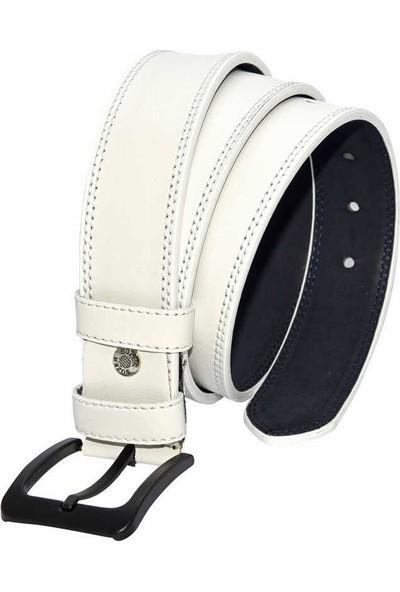Süzer Beyaz Suni Deri Dikişli Model 4 cm Spor Kemer - 9016-11