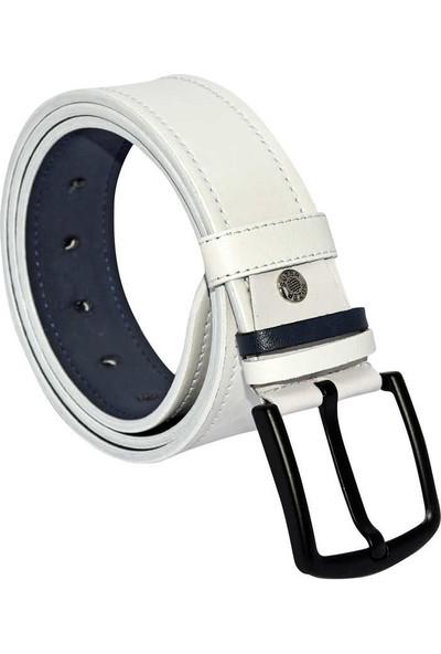 Süzer Beyaz Suni Deri Dikişli Model 4.5 cm Spor Kemer - 4516-10