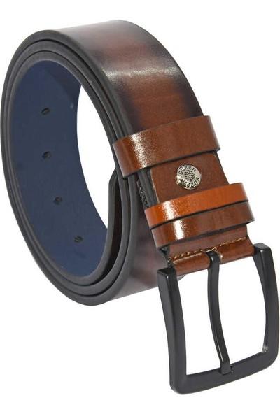 Süzer Kahverengi Suni Deri Düz Model 4 cm Spor Kemer - 9013