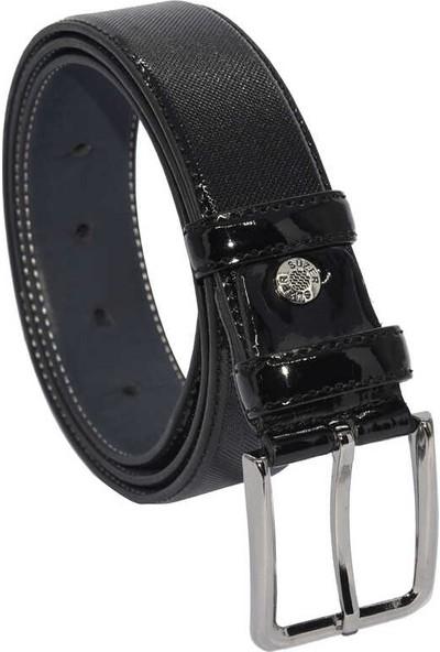 Süzer Siyah Rugan Suni Deri Desenli 3.5 cm Klasik Kemer - 8001-80