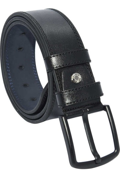Süzer Siyah Suni Deri Çift Dikişli Model 4.5 cm Spor Kemer - 4500-11