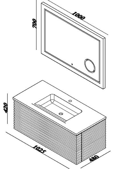 Lineart Fuga 100 cm Banyo Dolabı - Beyaz