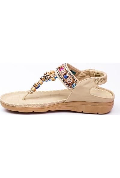 Guja 150 - 22 Parmak Arası Kadın Sandalet Bej