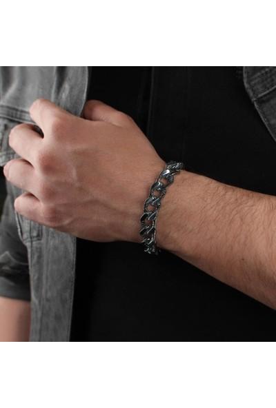 In Love Siyah Gümüş Erkek Bileklik 925 Ayar Gümüş