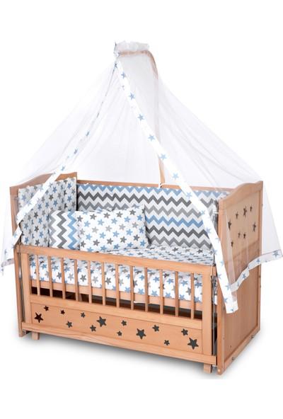 Bamgidoo Ahşap Yıldızlı 3 Kademeli Anne Yanı Beşik + Uyku Seti