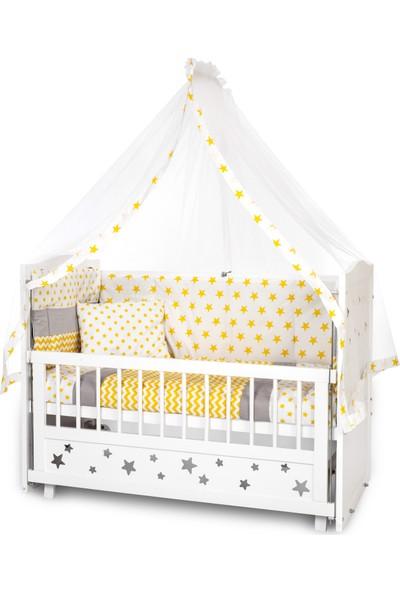 Bamgidoo Lake Beyaz Yıldızlı Anne Yanı Beşik + Kck Sarı Uyku Seti + Yatak