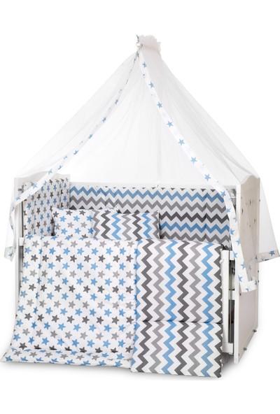 Bamgidoo Lake Beyaz Yıldızlı Anne Yanı Beşik + Zikzak Mavi Uyku Seti + Yatak
