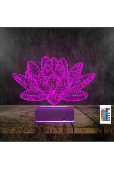 Algelsin Gece Lambası 3D 3 Boyutlu 16 Renkli Çicek Desen Tasarımlı Masa Lambası