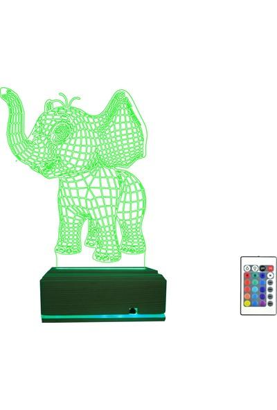 Algelsin Gece Lambası Yavru Fil Tasarımlı 3D 3 Boyutlu Masa Lambası