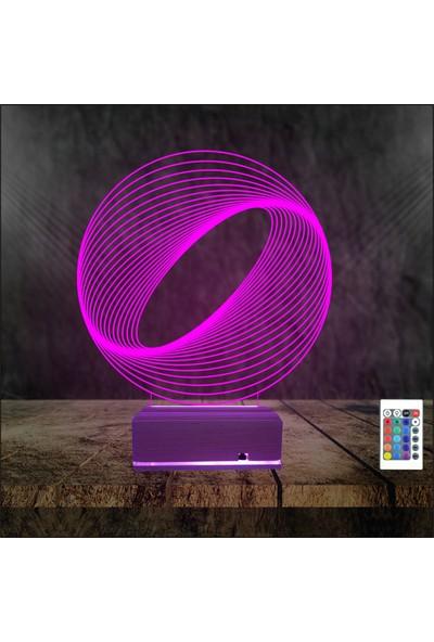 Algelsin Gece Lambaası 3D Led Çemberli Model Masa Lambası